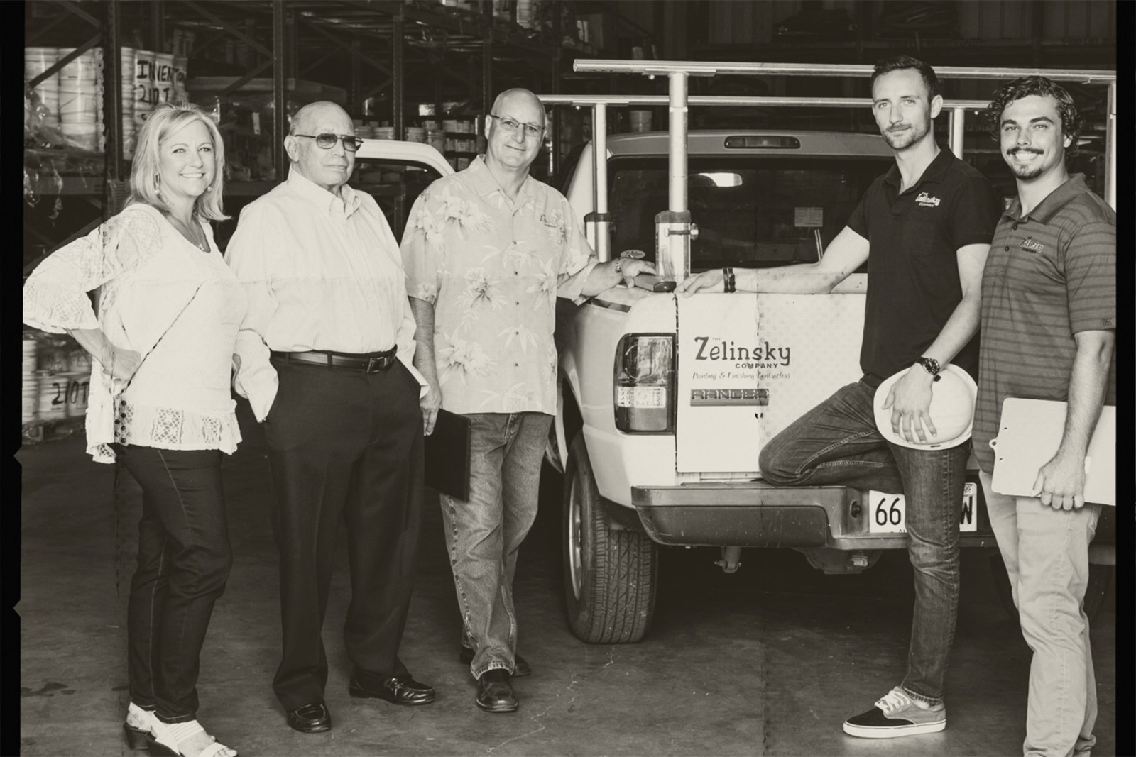 The Zelinsky Family with work truck
